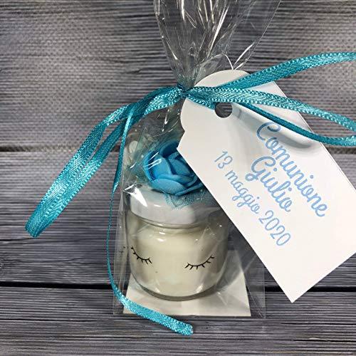 Comunione o Cresima maschio 10 mini candele unicorno in cera di soia e oli essenziali segnaposto bomboniera ricordo invitati