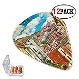 Paquete de 12 púas de ukelele para niñas coloridas calles de España edificios Cuenca Town púas de guitarra para niñas delgadas/medianas/pesadas púas de ukelele de plástico adecuadas para