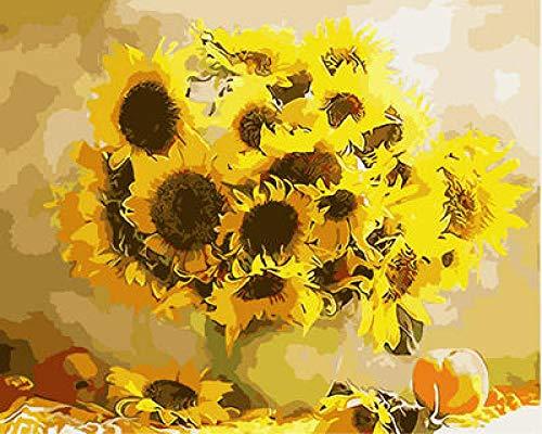 wosnyy Pintar por Numeros Fruta de Girasol Pintura por Número de Kits DIY Pintura al óleo para Adultos Niños Decoraciones para el Hogar- 40 x50cm(Sin Marco)