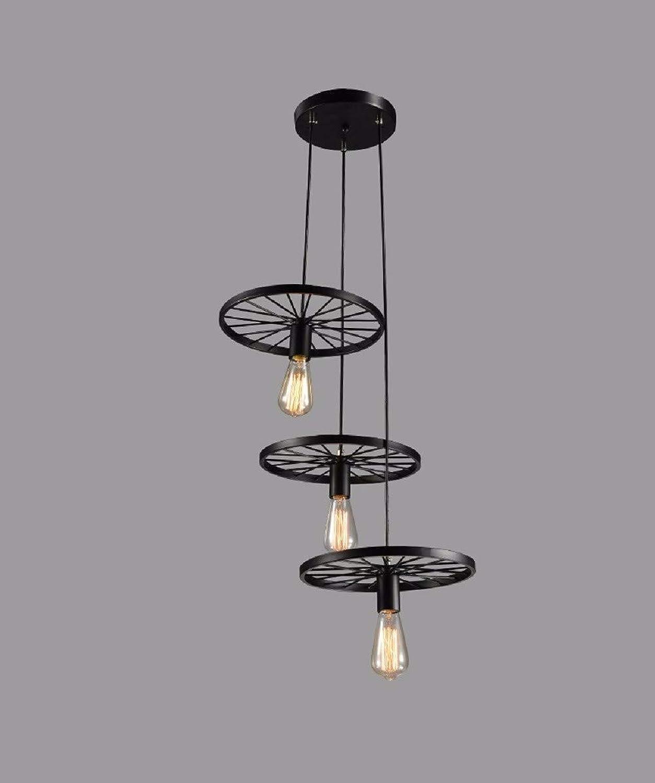 AI DENG 3 5 kpfe Rad deckenleuchte schmiedeeisen kronleuchter, Retro hngelampe pendent Lichter für Wohnzimmer Restaurant bar-schwarz (ohne Lampe)