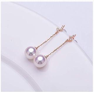 Anillos de Oreja Elegantes para Mujer Pendientes de perlas cultivadas cuidadosamente seleccionada de 18 quilates de oro / ...