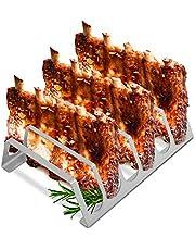 tradeNX uchwyt żeberkowy z czystej stali nierdzewnej – uchwyt na 6 żeberek – praktyczne akcesoria do grilla dla profesjonalistów – 25 x 20 cm