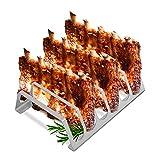 TradeNX - Supporto per Costine in Acciaio Inox, Accessorio da barbecue per la Cottura di Costolette di Carne e Verdure, Adatto per BBQ a Carbone, a Gas o Elettrico, Colore Argento