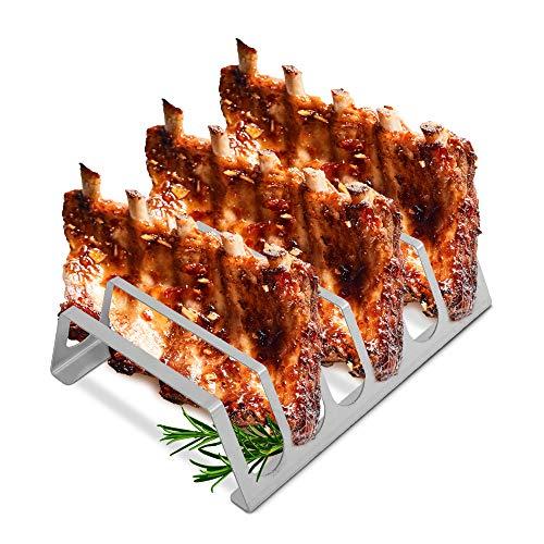 tradeNX Rippchenhalter aus reinem Edelstahl – BBQ Spareribs Halter für 6 Rippchen – Praktisches Grillzubehör für Profis – 25 x 20 cm