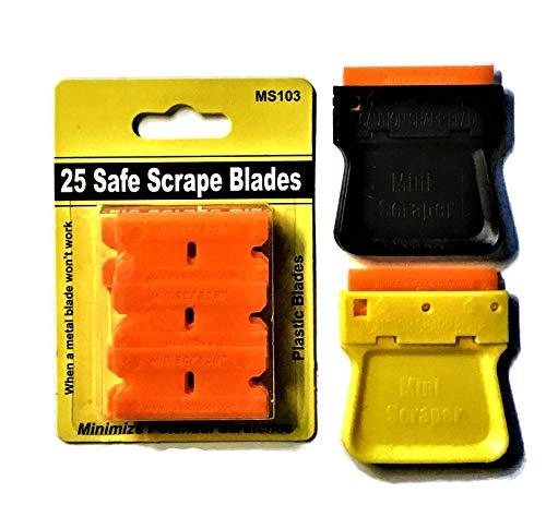 Mini Razor Blade Scraper 2 Pack (Us Made) with 25 Plastic Double Edged Blades