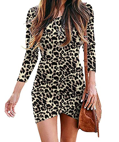 HiMONE Women Long Sleeve Elegant Ruched Bodycon Wrap Casual Irregular Hem Short Dress Leopard Spot Large