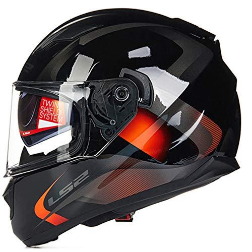 LS2 Stream - Casco integrale da motocicletta, per adulti, uomo, donna, doppia visiera (nero, rosso, XL)