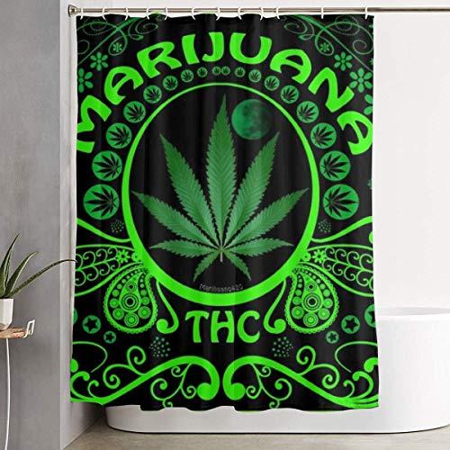 ngquzhe Für Dekorative Bad Vorhang Grün Marihuana Blatt Flagge Unkraut Duschvorhang mit Haken wasserdichte Badewanne Vorhang 60 '' B X 72 '' H