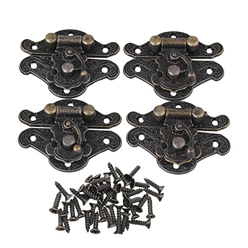 BQLZR 28x23mm Bronze Vintage Lock Clasp Latch Catch for Small Jewelry Boxes Suitcase Cabinet Set of 4