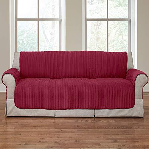 BrylaneHome Reversible Plush Stripe Sofa Protector, Cranberry