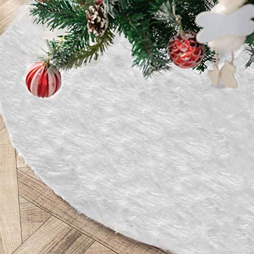Deggodech 90cm Weihnachtsbaum Röcke Plüsch Weihnachtsbaum Rock Weiß Rund Weihnachtsbaumdecke Fell Christbaumständer Teppich für Weihnachtsfeiertag Dekorationen (Weiß, 90CM/35 Zoll)