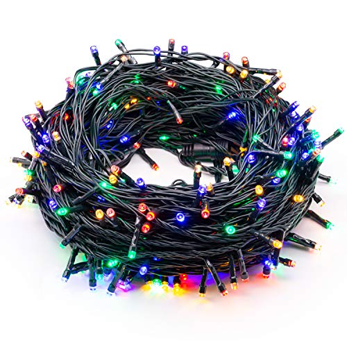 Epesl 320 LED 115ft String Lights Memory Function End-to-End Plug in Outdoor Indoor Waterproof Decorative Fairy Twinkle Christmas String Lights with 8 Modes for Christmas Tree/Wedding - Colorful