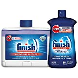 Finish Jet-Dry Rinse Aid, Dishwasher Rinse Agent & Drying Agent, 8.45 Fl Oz with Finish Dual Action Dishwasher Cleaner: Fight Grease & Limescale, Fresh, 8.45oz