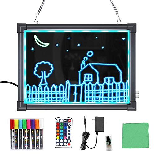 """MBQMBSS LED Message Writing Board 16"""" X 24"""" Illuminated Light Erase Board Acrylic Led Message Board Outdoor Erasable Lighted Letter Board Menu Sign Board with Remote Control&8 Colors Chalk Marker"""