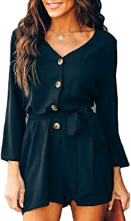 Women's Summer Chiffon Solid Romper Casual Botton Down Loose Long Sleeve Jumpsuit Short Rompers Playsuit with Belt