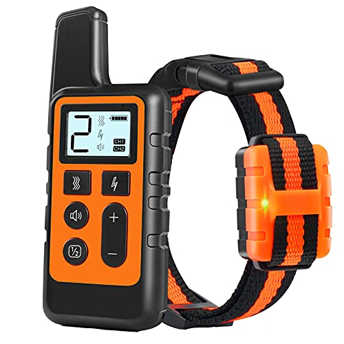 TWODEER Dog Training Collar, IPX7 Waterproof Rechargeable Shock Collars for Dog with Remote Range 1640ft, 3 Training Modes, Beep Vibration and Shock, Electric Dog Collar for Small Medium Large Dogs