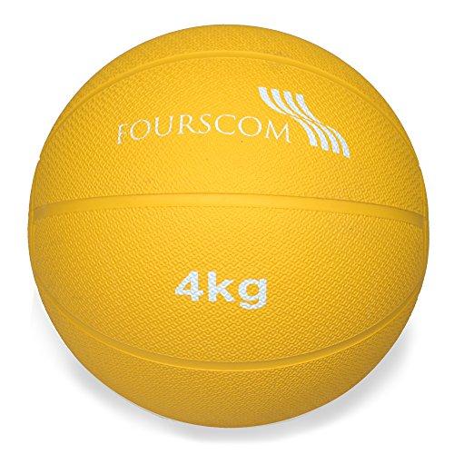 FOURSCOM® Medizinball Fit Ball Gymnastikball Gewichtsball Fitnessball Gelb 1Kg