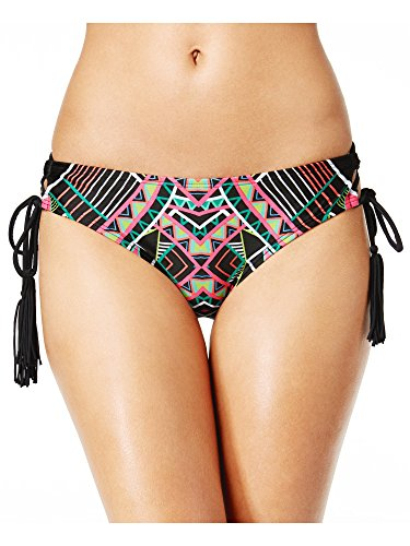 COCO RAVE Junior's Cheeky Bikini Bottom Swimsuit with Tassel Detail, Jet Black, X-Small