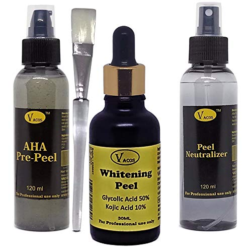 Vacos Whitening Peel 30ml, Glycolic Acid 50%, Kojic Acid 15%, Pre Peel and Neutralizer Chemical Peel Skin PEEL Whitening, Wrinkle Removal, Pigmentation, Scars, Marks, Spots, Melasma
