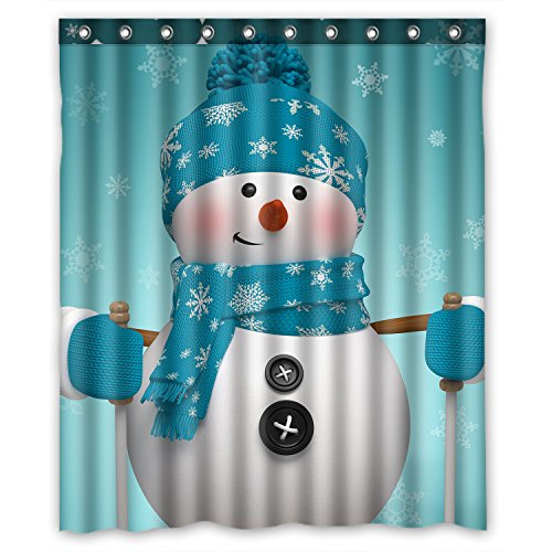 FMSHPON Christmas Snowman Waterproof Shower Curtain Bathroom Accessories Polyester Shower Curtain Size 60x72 Inches