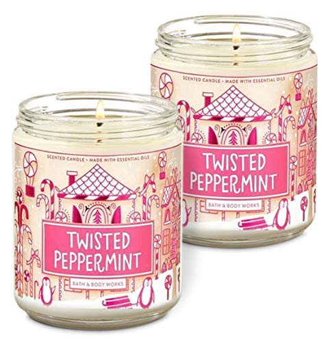 Bath & Body Works Twisted Peppermint Single Wick Scented Candle with Essential Oils 7 oz / 198 g Pack of 2