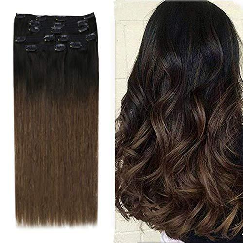 YoungSee Remy Extension Cheveux Naturel a Clip Ombre #1B/4 Noir Naturel a Marron Foncé Double Trame Extension Naturel a Clip Tête Pleine 7pcs/120g 16 Pouces