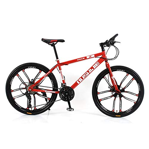 Fantastic Prices! Hybrid Bike Outdoor Sports Cycling Bicycle Dual Disc Brake (Color : Red, Size : 24 Speeds)
