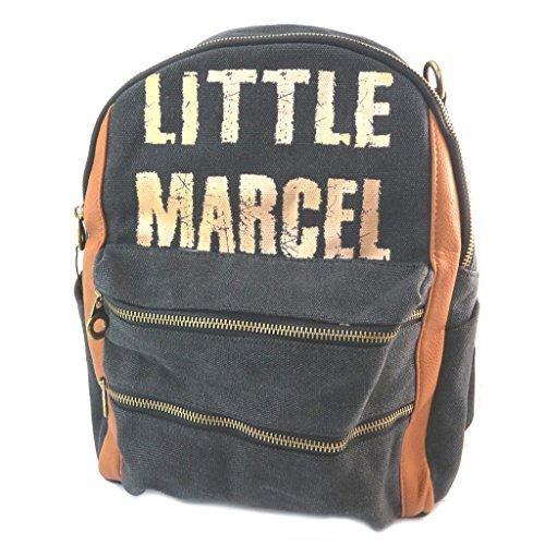 Little Marcel [P3145] - Sac à Dos 'Little Marcel' Noir doré Camel - 34x27x18 cm