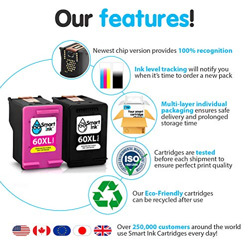 Smart Ink Re-Manufactured Ink Cartridge Replacement for HP 60XL 60 XL (BK