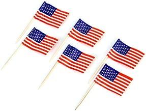 iMagitek 100 Pack Amercian Flag Toothpick Cupcake Toppers Cocktail Sticks