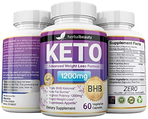 Keto BHB 1200mg Pure Ketone 60 Capsules (Pills) Advanced Weight Loss -Natural Ketosis Fat Burner Using Ketone & Ketogenic Diet, Boost Energy While Burning Fat, Fast & Effective Perfect for Men Women