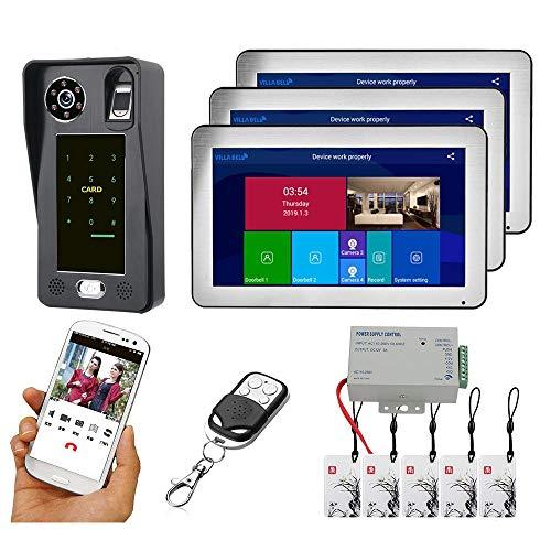 Videoportero Wifi de 10 pulgadas, videoportero inalámbrico, kit intercomunicador, monitor + cámara de visión nocturna, tarjeta identificativa de huellas dactilares, aplicación de desbloqueo