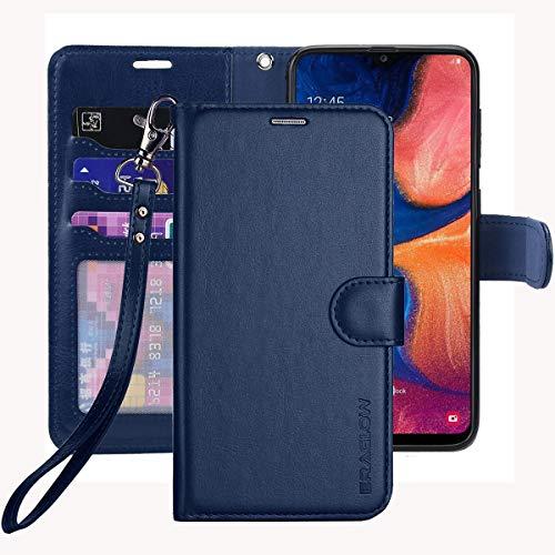 ERAGLOW Galaxy A20 Case,Galaxy A30 Case,Premium PU Leather Wallet Flip Protective Phone Case Cover w/Card Slots & Kickstand for Samsung Galaxy A20/A30 2019 (Blue)