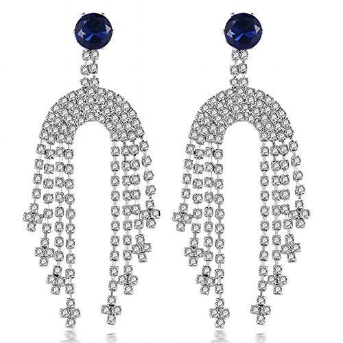 ZRDMN Pendientes de borla de moda largos aretes de circonitas étnicas europeas y americanas, aretes con forma de D pendientes colgantes de oreja para mujer