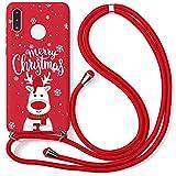 Yoedge Coque Collier pour Huawei Honor 10X Lite (4G), Rouge Silicone Etui avec Motif Cerf de Noël,...