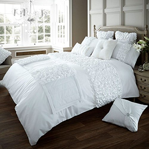 Just Contempo Bettbezug-Set mit Rüschen, weiß, Einzelbett
