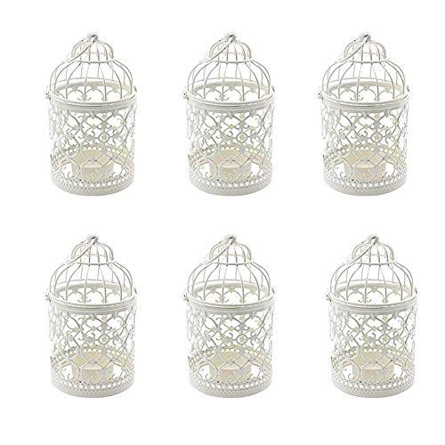 Weanty Lot de 6 Photophore en métal Bougeoirs pour cage à oiseaux Décoration vintage