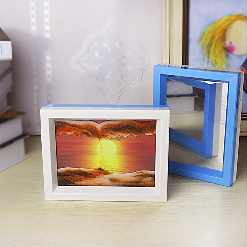 PROW 3D Dynamic Moving Sand Picture Framed Sun Rising Natural Scenery Hourglass Flow Sand Art with Beauty Mirror