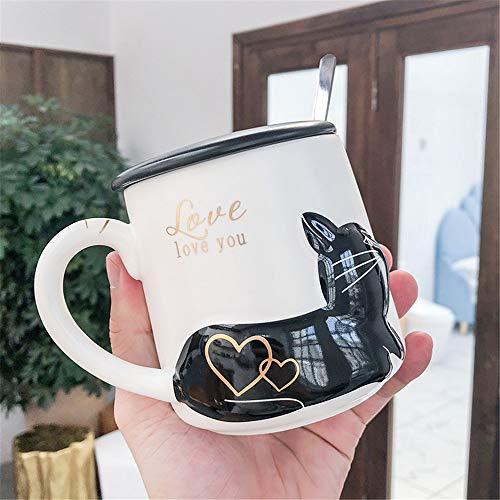 DISCOUNTL Becher, Kaffee zum Mitnehmen Becher, personalisierte kreative geprägte Katze Becher mit Deckel Löffel Cartoon Paar Keramik Tasse Kunst kleine frische Kaffeetasse