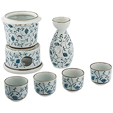 7-Piece Blue Floral Design White Ceramic Japanese Hot Sake Set with Warmer, 4 Cups, Carafe & Heating Pot