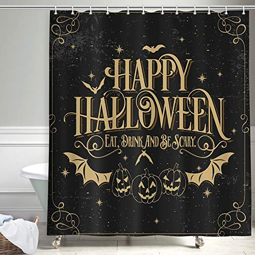 NYMB Halloween Shower Curtain, Bat with Pumpkin for Fall Shower Curtain, Polyester Fabric Waterproof Halloween Shower Curtains for Bathroom, 69X70 in, Shower Curtains Hooks Included, Black