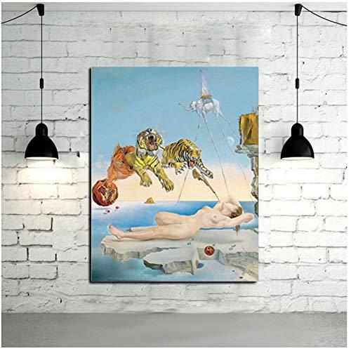 A&D Salvador Dalí Tiger, Elefant, Mädchen Leinwand Malerei Surrealismus Abstrakte Kunst Wandbilder Druck Für Wohnzimmer Druck auf leinwand-70x90 cm Kein Rahmen