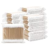 Hedume 2000 Pieces Wooden Cotton Swabs, Double Pointed Cotton Buds (20 Packs, 100 Pieces 1 Pack)