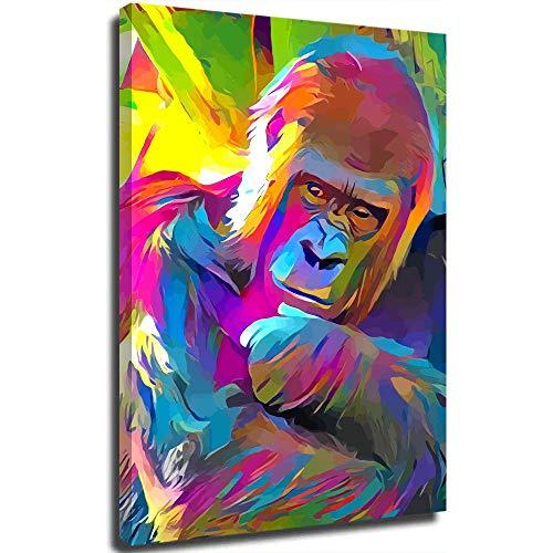 Animales coloridos gorila decoración de baño arte de pared 45,7 cm x 61 cm animales decoración de pared enmarcada decoración de pared, estirada y lista para colgar