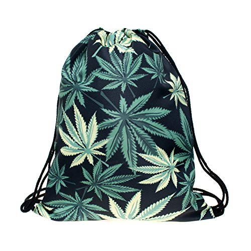 Drawstring Backpack Bag Bulk Bag Leaf Lightweight Sackpack Pull String Bag Gift Bag for Sports Bag Like Hiking Yoga Gym Swimming Travel Beach School Perfect for Girls Women and Kids