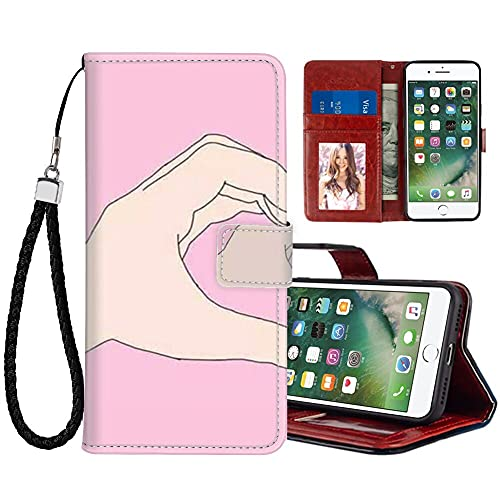 HUAKE Wallet Case fit for iPhone 7 / SE2 / 8 with Best Friend Pattern Premium PU Leather Wallet with Viewing Stand Card Slots Magnetic Buckle Folio Flip Cover Wrist Strap.