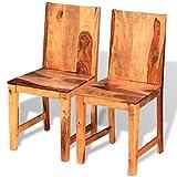 vidaXL 2x Chaise de Salle à Manger Bois de Sheesham Massif Chaises de Cuisine