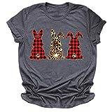 LUNDNEY Lovers Grande Taille Casual Pâques T-Shirt Tops à Manches Courtes Chic Été Sweatshirt Blouse Tops Décontractée Haut Anniversaire Cadeau D'Amour