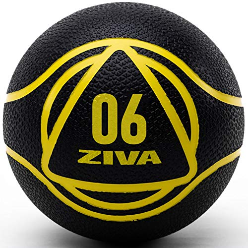 ZIVA Medicine Exercise Ball - Durable Rubber Shell, Easy-Grip Textured Finish - Strength Training, Core Workouts - Black 6lb