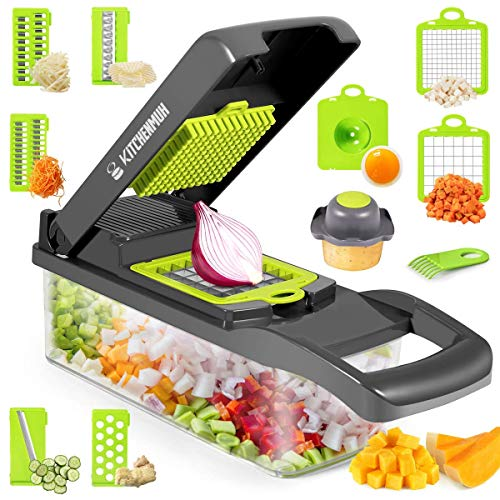 Vegetable Choppers, Onion Chopper, 12 in 1 Vegetable Cutter, Pro Slicer Dicer, Cutter, Manual Slicer, Mandolin Chopper with Container (Grey+White)